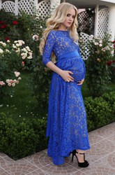 A-line Lace Bateau 3/4 Length Sleeve Sashed Maternity Dress