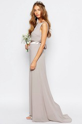Sleeveless Bateau Neck Ribboned Chiffon Bridesmaid Dress With Brush Train