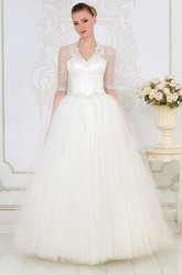 Ball Gown Long V-Neck Illusion-Sleeve Tulle Wedding Dress With Beading And Corset Back