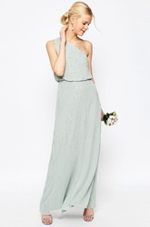 Sheath Ankle-Length Sleeveless Beaded One-Shoulder Chiffon Bridesmaid Dress