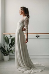 Elegant Lace and Chiffon Sheath 3/4 Sleeve Deep-V Back Bridal Gown with Sweep Train