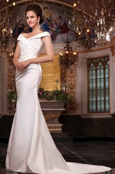 Noble Satin Sleeveless Off the Shoulder Mermaid Wedding Dress