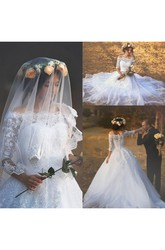 Ball Gown Off-the-shoulder Lace Tulle Button Zipper Wedding Gown