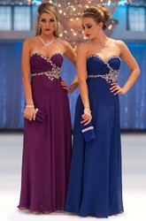 Floor-Length Sweetheart Sleeveless Ruched Chiffon Prom Dress With Beading