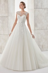 Jewel-neck A-line Wedding Dress With Cap Sleeves and Illusive Design