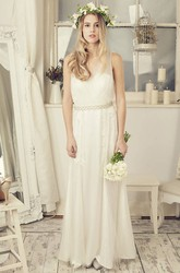 Sheath Sleeveless V-Neck Tulle Wedding Dress With Waist Jewellery