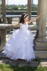 Flower Girl Square Neck Organza Ball Gown With Flower And Layered Skirt