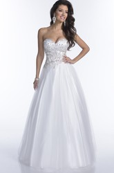 Noble A-Line Sweetheart Tulle Prom Dress Featuring Rhinestone Bodice