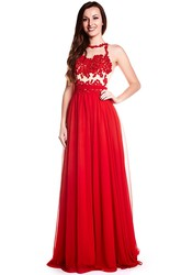 High Neck Appliqued Sleeveless Chiffon Prom Dress With Illusion Back