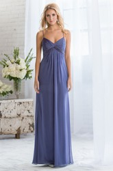 Sleeveless V-Neck Long Gown With Spaghetti Straps And Beadings