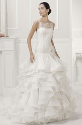 Illusion Bateau Neck Drop Waist Bridal Gown With Tiered Organza Skirt