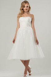 A-Line Tea-Length Criss-Cross Strapless Tulle Wedding Dress With Appliques And Corset Back