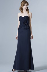 Sweetheart Sleeveless Criss-Cross Chiffon Bridesmaid Dress With Flower