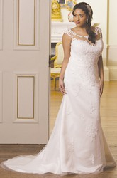 Sheath Scoop-Neck Sleeveless Satin&Tulle Plus Size Wedding Dress With Illusion