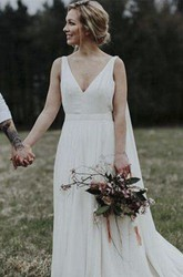 Elegant Plunging V-neck Goddess A-line Bridal Gown With Chapel And Watteau Train