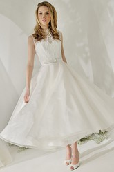 A-Line High Neck Tea-Length Sleeveless Satin&Lace Wedding Dress With Illusion Back