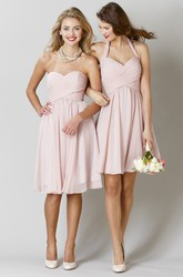 Knee-Length Sleeveless Criss-Cross Sweetheart Chiffon Bridesmaid Dress