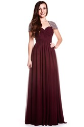 A-Line Floor-Length Sweetheart Criss-Cross Cap-Sleeve Chiffon Prom Dress With Keyhole Back And Beading
