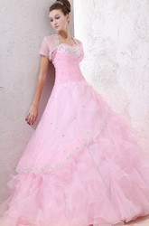 Sweetheart Sleeveless Ball Gown Organza Prom Dress With Beaded Top And Ruffles