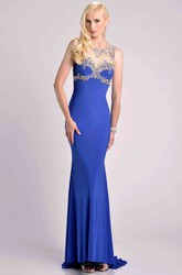 Sheath Sleeveless Jersey Prom Dress With Beaded Top And Bateau Neck