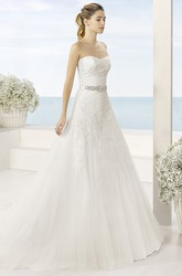 A-Line Long Strapless Jeweled Tulle Wedding Dress With Appliques And V Back