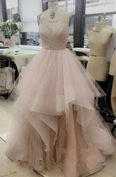 Sleeveless Floor-length A-Line V-neck Tulle Dress