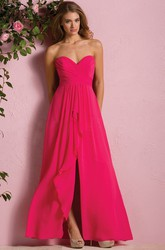 Sweetheart A-Line Gown With Front Slit And Ruffles