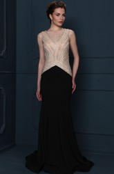 Long V-Neck Beaded Jersey Evening Dress With Sweep Train And V Back