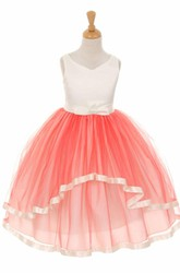 Tea-Length Peplum Bowed Tiered Tulle&Satin Flower Girl Dress With Sash