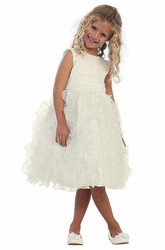 Tea-Length Sleeveless Ruched Organza&Satin Flower Girl Dress