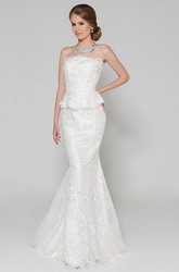 Mermaid Sleeveless Maxi Peplum Strapless Lace Wedding Dress With Appliques