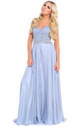 Sleeveless Beaded Sweetheart Chiffon Prom Dress With Ruching And Straps
