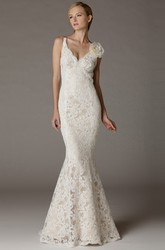 Trumpet Appliqued V-Neck Sleeveless Long Lace Wedding Dress With Flower