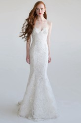 Trumpet Sleeveless Long Spaghetti Beaded Lace Wedding Dress With Appliques