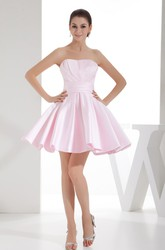 Blushing Strapless Sleeveless Short Mini Satin Bridesmaid Dress with Pleats