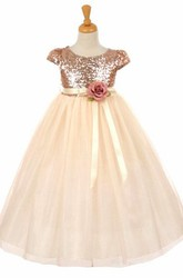 Short Floral Empire Floral Tulle&Sequins Flower Girl Dress With Sash