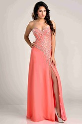 A-Line Side Slit Chiffon Sweetheart Prom Dress With Beadwork