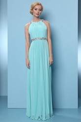 Sleeveless High Neck Pleated Chiffon Bridesmaid Dress