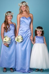 Sleeveless Sweetheart Ruched Satin Bridesmaid Dress