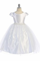 Tea-Length Beaded Cap-Sleeve Tulle&Satin Flower Girl Dress