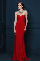 Sheath V-Neck Sleeveless Maxi Beaded Jersey Evening Dress