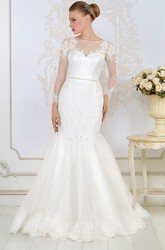 Mermaid Long-Sleeve Jewel-Neck Appliqued Floor-Length Lace&Satin Wedding Dress With Waist Jewellery