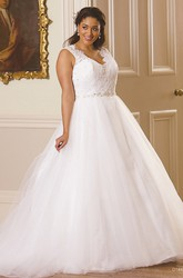 Ball Gown Maxi Sleeveless V-Neck Jeweled Tulle Plus Size Wedding Dress With Appliques And Illusion