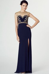 High Neck Floor-Length Split-Front Jersey Prom Dress With Beading And Illusion