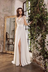 Sexy Chiffon and Lace Sheath V-neck Split Front Kethole Back Wedding Dress