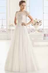 Graceful A-line Dress With Lace Appliqued Illusion Back and Neck
