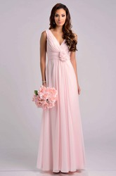 V-neck Pleated Chiffon Sleeveless Dress With Flowers And V-back