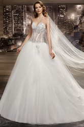 Sweetheart Brush-Train A-Line Bridal Gown With Beaded Corset And Asymmetrical Ruffles
