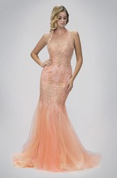 Mermaid High Neck Sleeveless Tulle Illusion Dress With Appliques