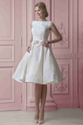 Midi Sweetheart Floral Satin Wedding Dress With Ribbon And Lace Up